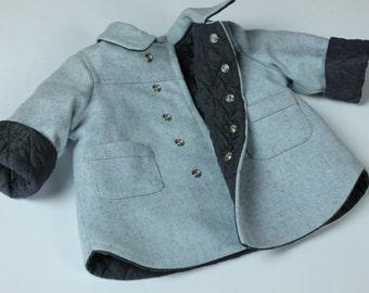 Wool baby boys jacket, winter jacket for boys , coat baby boys, Toddler Boys Winter, Toggle Jacket,  woollen jacket, kids wool jacket