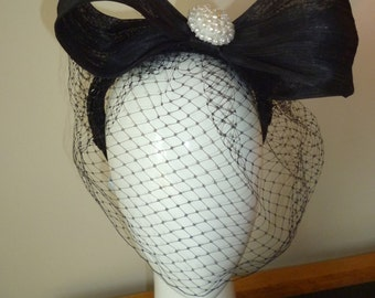 Vintage Button Bow Headband Fascinator