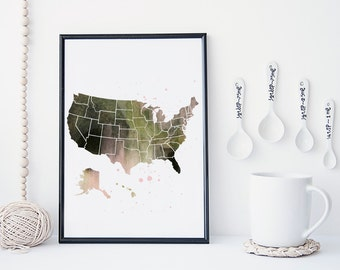 United States map watercolor wall art, art print, America map, office decor, home wall decor, apartment wall art, modern print, map poster