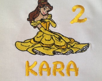 Belle Shirt for Girls, Girls Belle Shirt, Belle Birthday Shirt, Belle Shirt for Baby, Disney Princess Shirt, Belle, Personalized, Embroidery