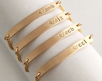 Dainty Bridesmaid Gift Set, Personalized Gold Bracelets, Silver Bridesmaid Bracelets, Skinny Bar Bracelet, Wedding Gifts, LEILAjewelryshop,