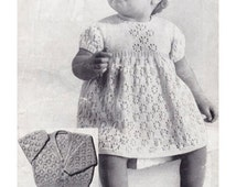 """Vintage Row by Row Knitting Pattern PDF to make Baby A Pretty Short Sleeve Lacy Dress & Cardigan in 4 ply Chest 19-20"""" A Digital Download"""