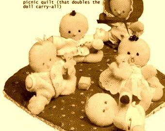 """Instant PDF Download Vintage Sewing Pattern to make Small 4"""" Baby Dolls,Clothes & Picnic Blanket Stuffed Plush Soft Body Cloth Toys"""