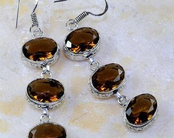"Smoky Quartz Sterling Silver 2 1/2"" Dangle Earrings"