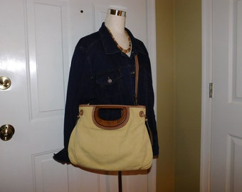 FOSSIL~Tan and Yellow Canvas Shoulder Bag Purse