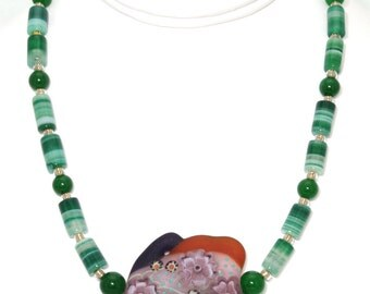 BN079- Jade, green Onyx line barrel, and Lampwork Glass necklace