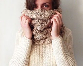 Knitted cowl scarf snood, knitted oversized hooded cowl, knitted oversized snood, knitted women's chunky cowl, cable cowl, beige snood