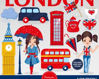 London clipart, Girl clipart, England clip art, British party, Travel clipart, London scrapbooking, Digital images - CA396