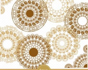Gold Lace clipart, Lace doilies, Wedding lace, Lace doily, Wedding clipart, Scrapbook doily, Doily clipart - LA105