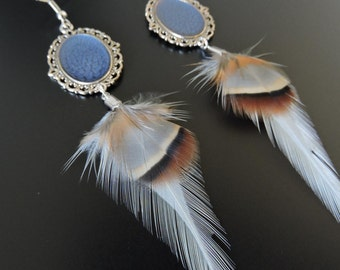 Earrings feather cock and partridges / Rooster and partridge feathers earrings