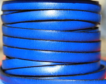 MADE in SPAIN 2 feet of flat 10mm genuine leather cord, 10mm blue leather cord, electric blue leather cord, bracelet leather cord (VM10AZE)