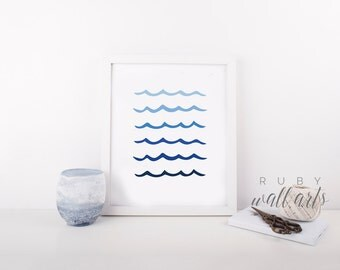 Ocean Wave Wall Art, Art Print, Geometric Wall Art, Home Decor, Printable, Modern Minimalist Art, Blue, Nature, Sea, Ocean Wall Art