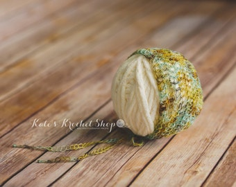 Green/Brown/Teal Newborn Bonnet Photography Prop