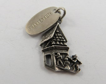 Frankenmuth Clock Tower Michigan with Frankenmuth Tag Attached Sterling Silver Charm or Pendant.