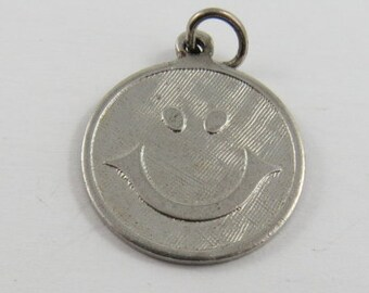 Happy Face Sterling Silver Charm or Pendant.