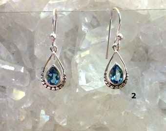 Blue Topaz Sterling Earrings | December Birthstone | YOU CHOOSE