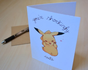 "INSTANT DOWNLOAD Geek Love Pokemon Pikachu ""You're Shockingly Cute"" greeting card, birthday, anniversary, Valentines Day, nerd geek gift"