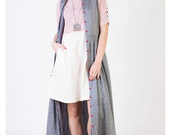 Grey Mangalgiri Maxi With Red Details (Ans-1284)