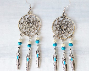 Dream catcher earrings, silver and turquoise feathers charms with wood beads, dream catcher jewelry, bohemian earrings, boho jewelry