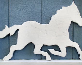 Rustic White Horse Sign Wall Decor Wood Horse Weathervane Farm Country Wall Art #5510