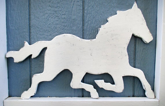 Rustic White Horse Sign Wall Decor Wood Horse Weathervane Farm