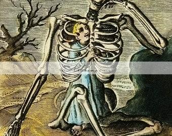 Instant Art Printable Download - Death Macabre Skeleton Creepy Halloween Antique Illustration - Paper Crafts Scrapbook Altered Art