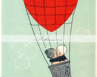 Digital Download Printable Art - Sweethearts Hot Air Balloon Red Heart Vintage Valentine's Day Card - Paper Crafts Scrapbook Altered Art