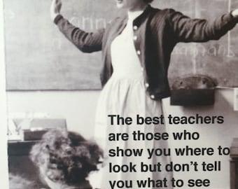 "TEACHER, Back to School vintage/retro card ""The best teachers"" teacher encouragement [814-268]"