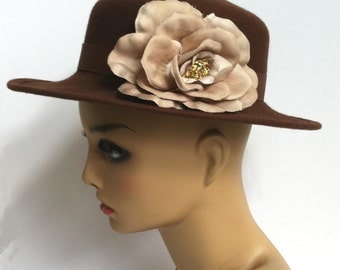 Fun 1980's Chocolate Brown Hat with Ribbon and Flower Detail