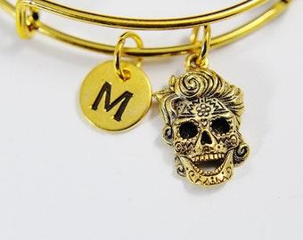 Gold Sugar Skull Charm Bangles, Gold Sugar Skull Charm Bracelet, Gold Sugar Skull Charm Bangle with Initial Charm on Expandable Bangles