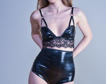 30% off - Black PVC Bra with Eyelash Lace
