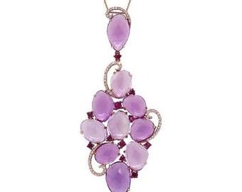 Unique Intricate 26.20 TCW 14K Rose Gold Amethyst & Pink Sapphire Diamond Pendant Necklace