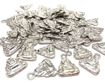10 Antique Silver Buddha Charms/Pendants (lead and nickel free)