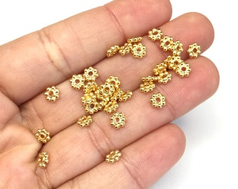 Tierra Cast 5mm Gold Plated Daisy Spacers (30 Pcs)