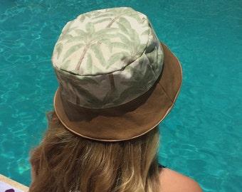 Tropical Adult Reversible Bucket Hat, Sun Hat, Mens Hat, Beach Hat, Palm Trees, Safari, Handmade Summer Hat, Women, Leather, Brown pinstripe