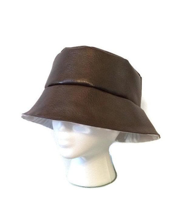 Brown PU Leather Women's Reversible Bucket Hat Sun Hat