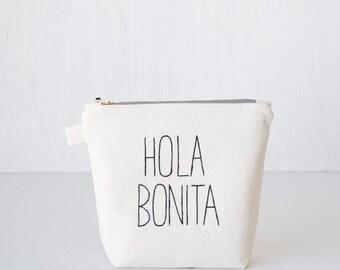 Makeup organizer HOLA BONITA. Bridesmaid gift. Organic makeup bag. Brush case. Lined zipper pouch. White cosmetic bag Unique girlfriend gift