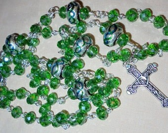 Crystal glass Rosary, Catholic Rosary, Hail Mary beads, Rosary Beads, Divine Mercy Chaplet