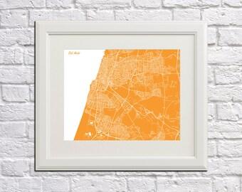 Tel Aviv Street Map Print Map of Tel Aviv City Street Map Israel Poster Wall Art 7081L