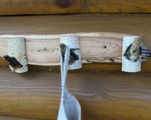 Tree Branch Coat Rack, Wooden Hook, Rustic Wood Decor, Eco Friendly Wood Birch and Oak, Rustic Home Decor