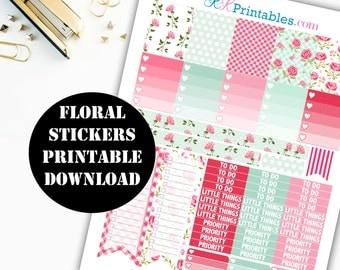 Floral Spring Printable Planner Stickers // Erin Condren Printable / Plum Paper Planner / Floral Printable Digital Download 00140