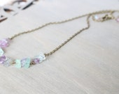 Purple and Green Bronze Necklace - Simple, Layered Necklace, Multi-Fluorite, Boho Necklace
