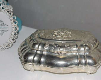 Beautiful Vintage Silver Plated Jewelry or Trinket Box - Footed