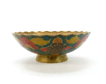 Vintage Brass Cloisonné Bowl - Brass plate - Enamel Brass Dish - Enameled Plate - Brass decor - Unique gift - Brass Enameled Bowl