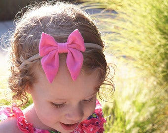 Nylon Headband, Baby Girl Headband, Newborn, Headband, Baby Girl Bow, Toddler Headband, Bow Headband, Baby Headband, Nylon Baby Bow, Pink
