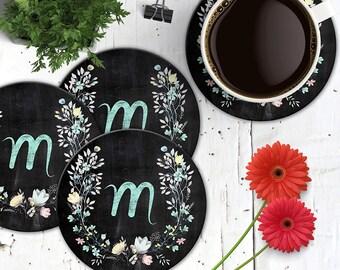 Chalkboard Initial Coasters, Chalkboard Wreath Coaster, Chalk Monogram and Flowers Coaster Set, Boho Chic Coasters