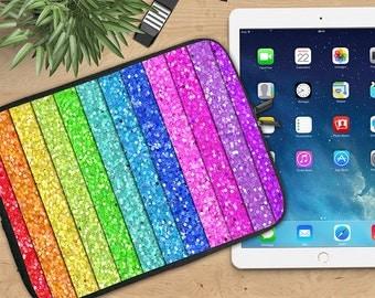 Glitter Rainbow Ipad Sleeve, Rainbow Neoprene Tablet Sleeve, Ipad Sleeve, Ipad 2/3/4, Ipad Air Sleeve, Tablet Travel Case
