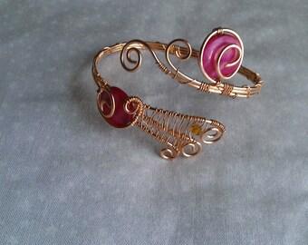 wire wrapped bracelet , handmade bracelet, mother of pearl bracelet, bronze bracelet