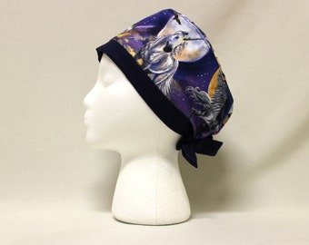 Unicorn and Eagles in Space Surgical Scrub Cap Chemo Dental Hat