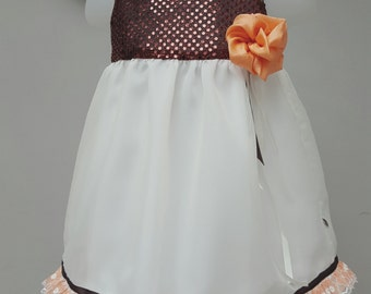 Flower Girl Dress, Bridesmaid Dress. Baby Birthday Party Dress, Special Occasion dress 9 to 12 months. Copper/cream dress. By JQDresses